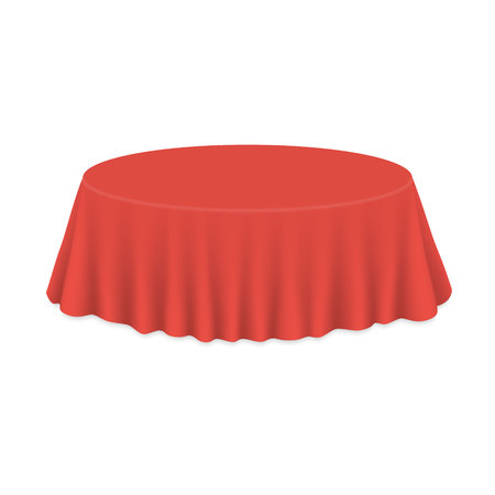 Empty round Tablecloth on table Isolated on white background Vectores