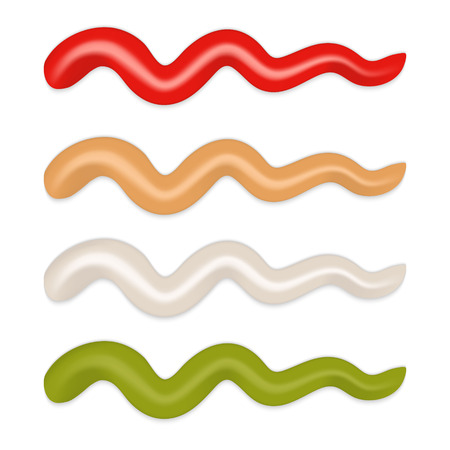 depicting strips of different sauce isolated. mayonnaise, ketchup, mustard,  wasabi