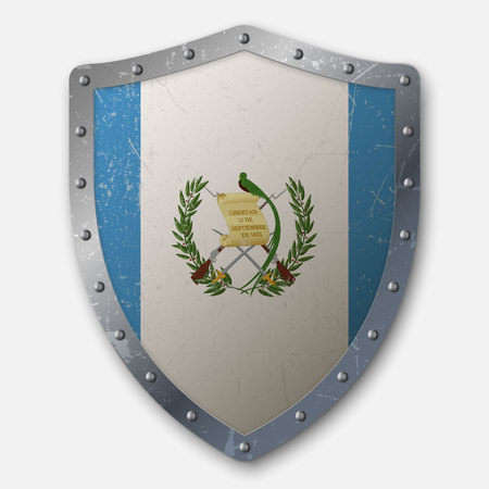 Old Shield with Flag of Guatemala. vector illustration