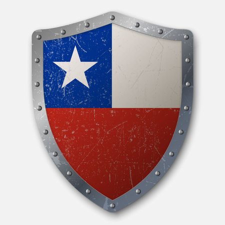 Old Shield with Flag of Chile. vector illustration 向量圖像