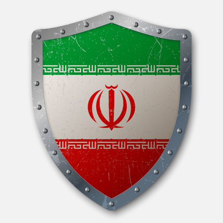 Old Shield with Flag of Iran. vector illustration