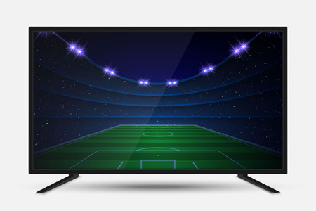 Realistic TV screen. Modern television lcd panel with soccer match