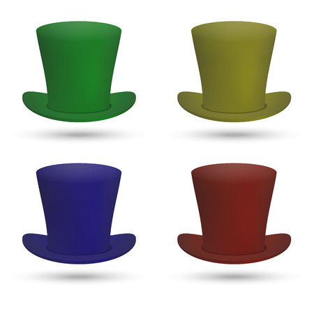 set of Colorful Top Hat isolated on white background