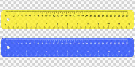 School Plastic Measuring Ruler with Centimeters And Inches Scale on transparent background