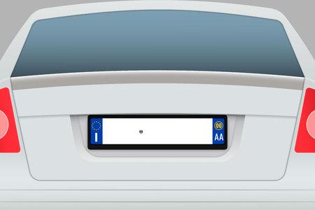 Auto achteraanzicht met kentekenplaat. Kentekenplaten van Italië