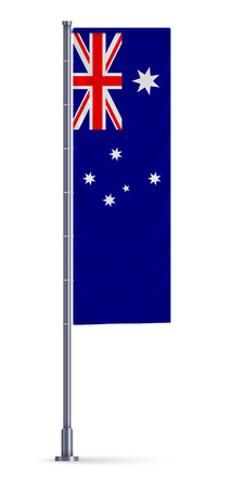 Vertical flag of Australia hanging on a silver metallic pole.