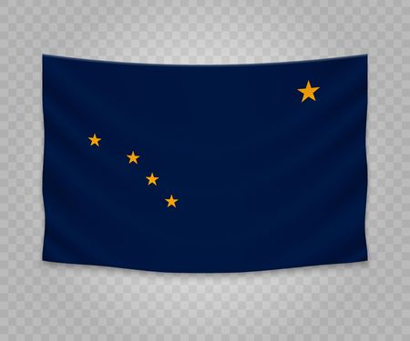 Realistic hanging flag of Alaska. State of USA. Empty  fabric banner illustration design.