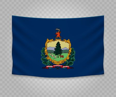 Realistic hanging flag of Vermont. State of USA. Empty  fabric banner illustration design.