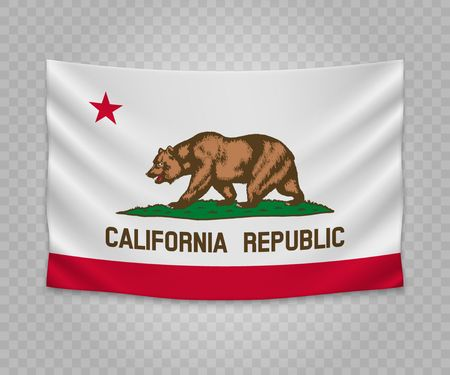 Realistic hanging flag of California. State of USA. Empty  fabric banner illustration design.