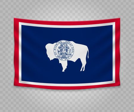 Realistic hanging flag of Wyoming. State of USA. Empty  fabric banner illustration design.