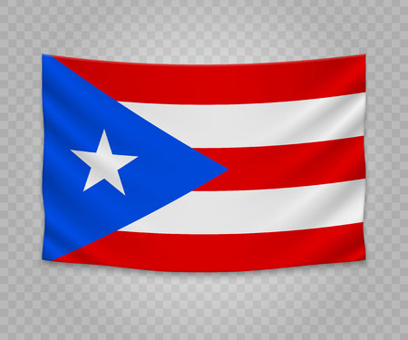 Realistic hanging flag of Puerto Rico. State of USA. Empty  fabric banner illustration design.