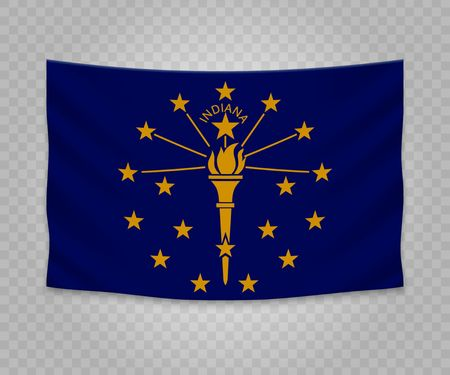 Realistic hanging flag of Indiana. State of USA. Empty  fabric banner illustration design.