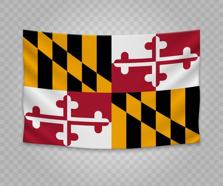 Realistic hanging flag of Maryland. State of USA. Empty fabric banner illustration design.