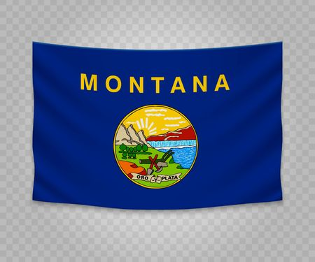 Realistic hanging flag of Montana. State of USA. Empty  fabric banner illustration design.