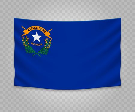 Realistic hanging flag of Nevada. State of USA. Empty fabric banner illustration design.