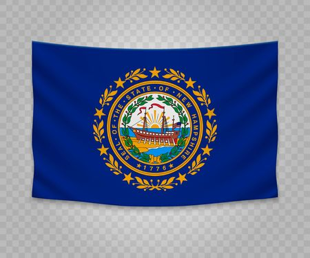 Realistic hanging flag of New Hampshire. State of USA. Empty fabric banner illustration design.