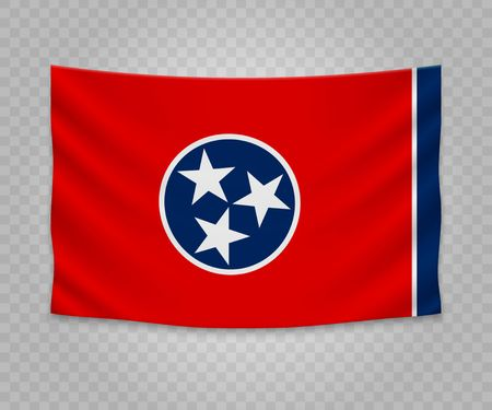 Realistic hanging flag of Tennessee. State of USA. Empty  fabric banner illustration design.