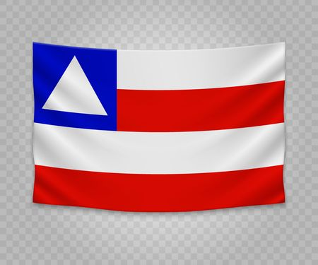 Realistic hanging flag of Bahia. State of Brazil. Empty  fabric banner illustration design.