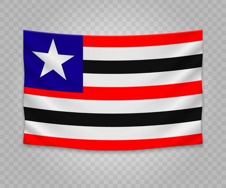 Realistic hanging flag of Maranhao. State of Brazil. Empty  fabric banner illustration design.
