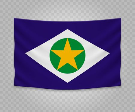 Realistic hanging flag of Mato Grosso. State of Brazil. Empty fabric banner illustration design.