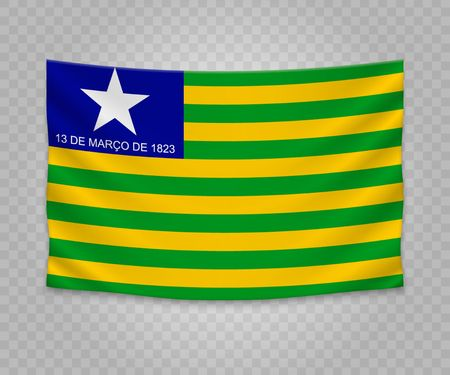Realistic hanging flag of Piaui. State of Brazil. Empty fabric banner illustration design.