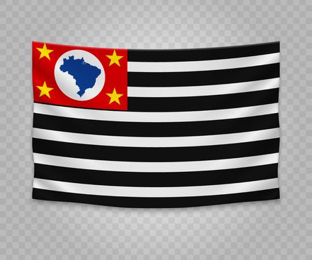 Realistic hanging flag of Sao Paulo. State of Brazil. Empty  fabric banner illustration design.