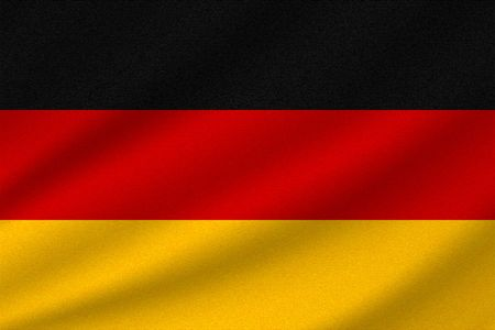 national flag of Germany on wavy cotton fabric. Realistic vector illustration.