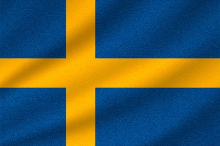 national flag of Sweden on wavy cotton fabric. Realistic vector illustration.