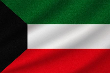 national flag of Kuwait on wavy cotton fabric. Realistic vector illustration.