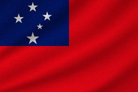 national flag of Samoa on wavy cotton fabric. Realistic vector illustration.