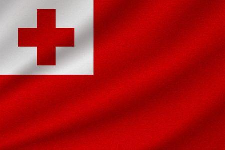national flag of Tonga on wavy cotton fabric. Realistic vector illustration.