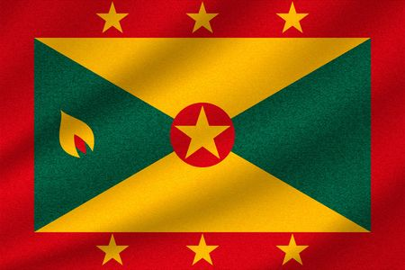 national flag of Grenada on wavy cotton fabric. Realistic vector illustration. Illustration