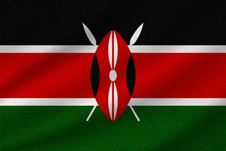 national flag of Kenya on wavy cotton fabric. Realistic vector illustration.