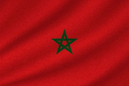 national flag of Morocco on wavy cotton fabric. Realistic vector illustration. Illustration