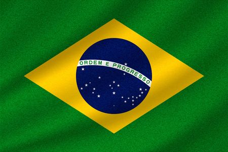 national flag of Brazil on wavy cotton fabric. Realistic vector illustration.