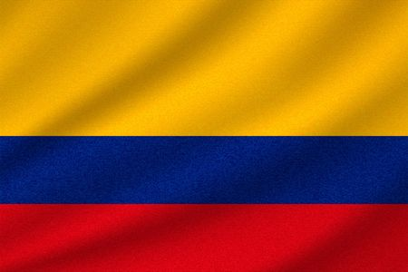 national flag of Colombia on wavy cotton fabric. Realistic vector illustration.