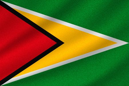 national flag of Guyana on wavy cotton fabric. Realistic vector illustration.
