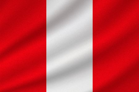 national flag of Peru on wavy cotton fabric. Realistic vector illustration. Vettoriali