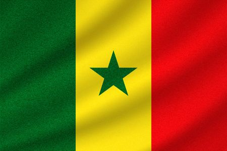 national flag of Senegal on wavy cotton fabric. Realistic vector illustration.