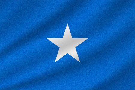 national flag of Somalia on wavy cotton fabric. Realistic vector illustration. Illustration