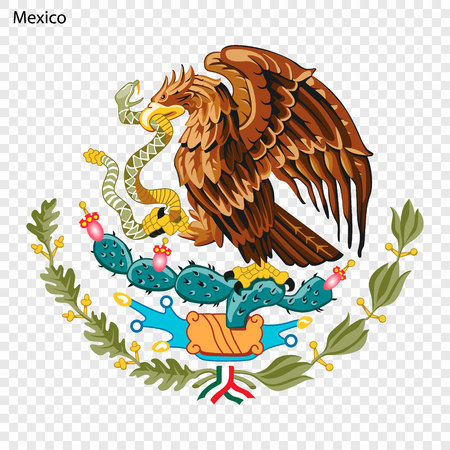 Symbol of Mexico. National emblem Çizim