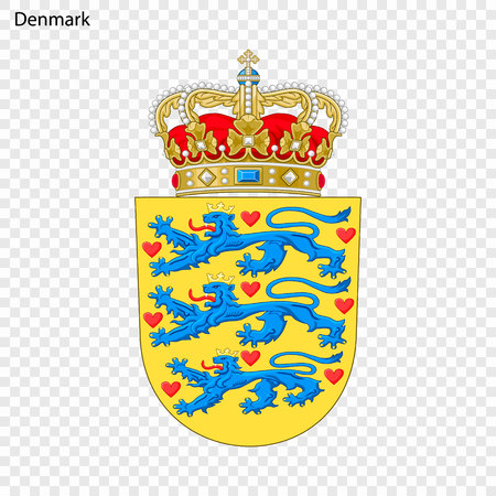 Symbol of Denmark. National emblem Stock Illustratie