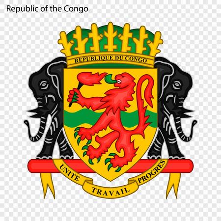 Symbol of Republic of the Congo. National emblem Vector Illustration