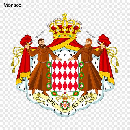 Symbol of Monaco. National emblem Vectores
