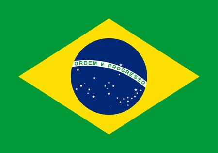 Simple flag of Brazil. Correct size, proportion, colors. 일러스트