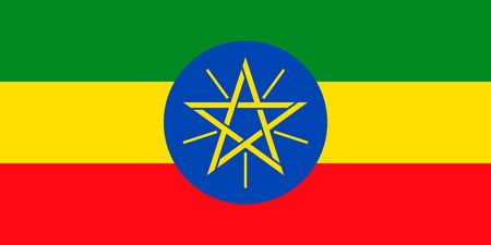 Simple flag of Ethiopia. Correct size, proportion, colors.