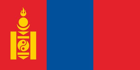 Simple flag of Mongolia. Correct size, proportion, colors.