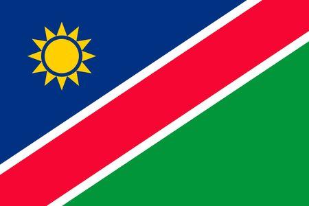 Eenvoudige vlag van Namibië. Juiste maat, verhouding, kleuren.