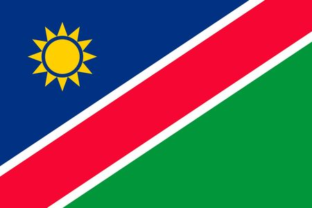 Simple flag of Namibia. Correct size, proportion, colors.