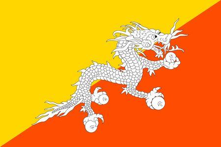 Simple flag of Bhutan. Correct size, proportion, colors.